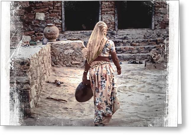 Candid Family Portraits Greeting Cards - Slice of Life Garbage Disposal Indian Village Rajasthani 3c Greeting Card by Sue Jacobi