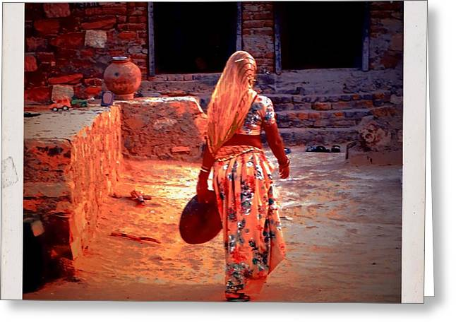 Candid Family Portraits Greeting Cards - Slice of Life Garbage Disposal Indian Village Rajasthani 3d Greeting Card by Sue Jacobi