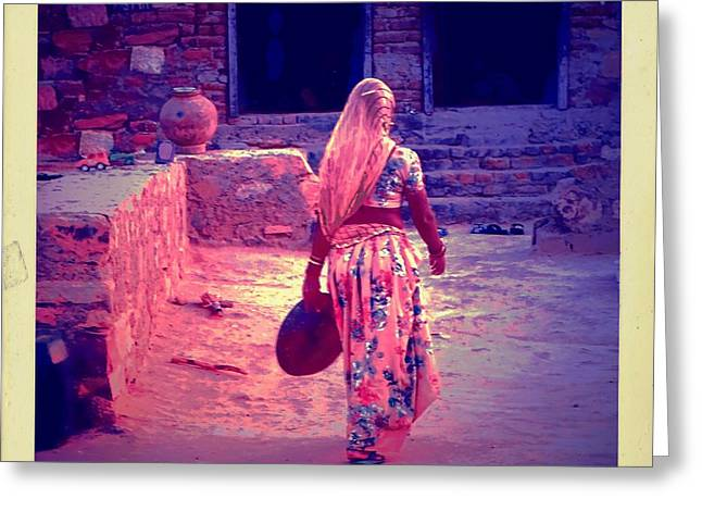 Candid Family Portraits Greeting Cards - Slice of Life Garbage Disposal Indian Village Rajasthani 3f Greeting Card by Sue Jacobi