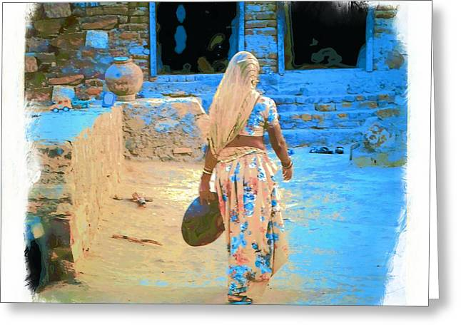 Candid Family Portraits Greeting Cards - Slice of Life Garbage Disposal Indian Village Rajasthani 3g Greeting Card by Sue Jacobi