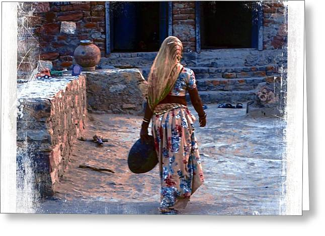 Candid Family Portraits Greeting Cards - Slice of Life Garbage Disposal Indian Village Rajasthani 3h Greeting Card by Sue Jacobi