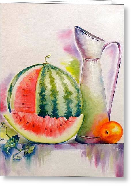 Watermelon Greeting Cards - Slice Of Summer Greeting Card by Marina Wirtz