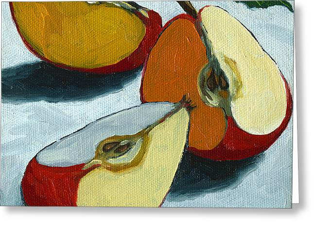Sliced Apple still life oil painting Greeting Card by Linda Apple