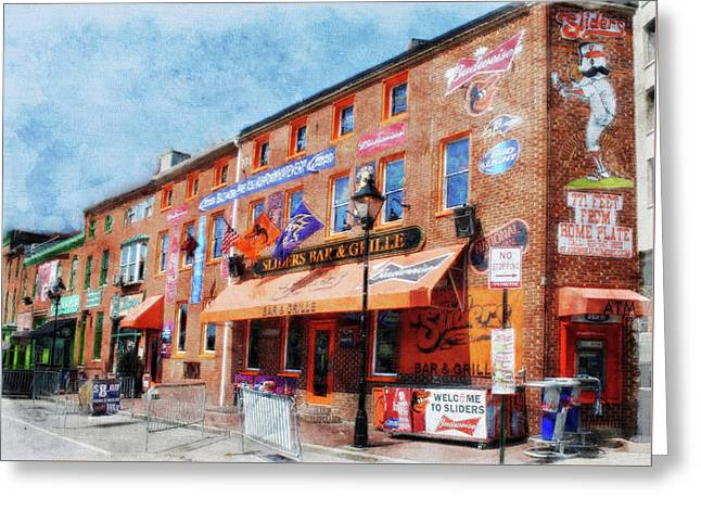 Sliders Bar And Grille, Baltimore, Md.  Greeting Card by Chet Dembeck