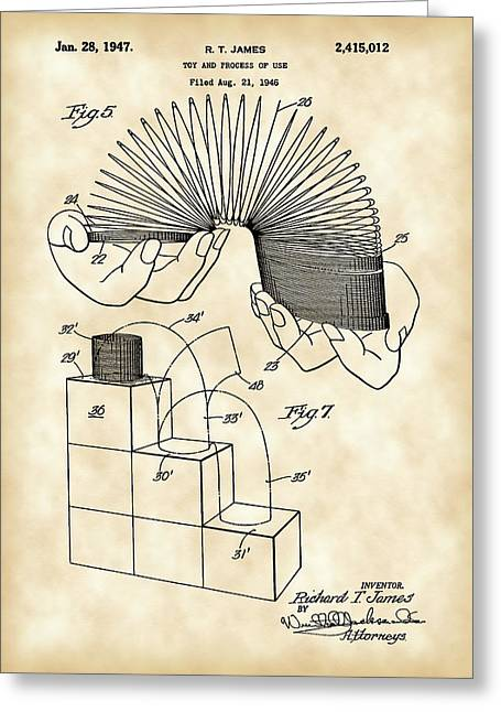 Toy Greeting Cards - Slinky Patent 1946 - Vintage Greeting Card by Stephen Younts