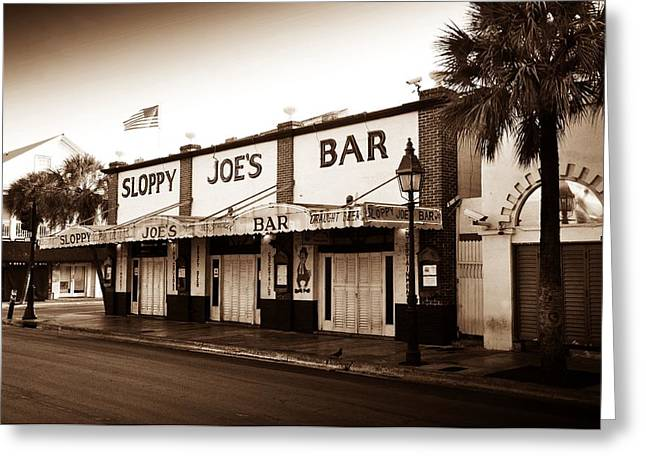 Hemingway Greeting Cards - Sloppy Joes - Key West Florida Greeting Card by Bill Cannon
