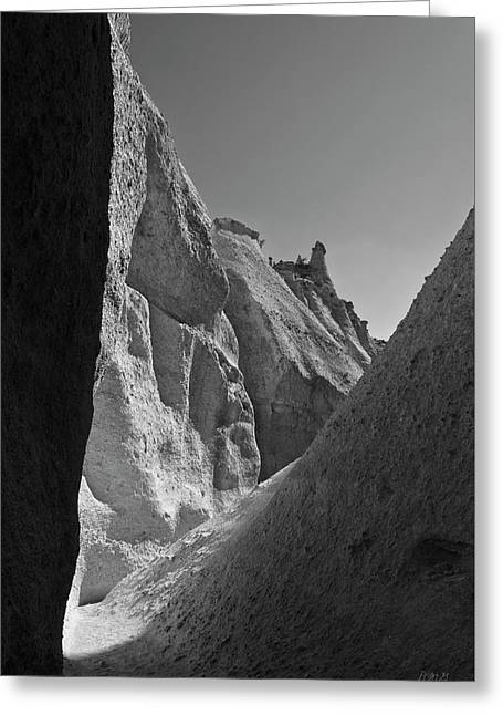Tent Rocks Canyon Greeting Cards - Slot Canyon BW I Greeting Card by David Gordon