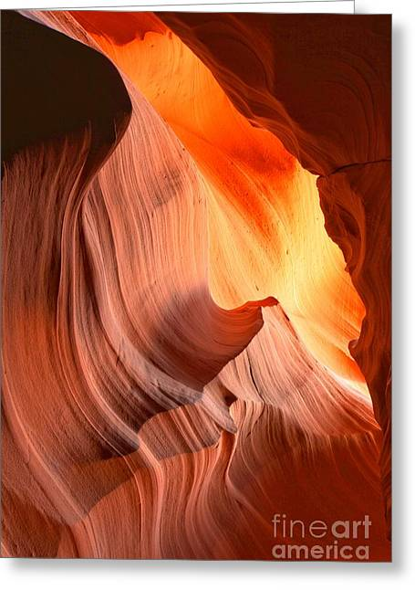 Slot Canyon Fiery Bands Greeting Card by Adam Jewell