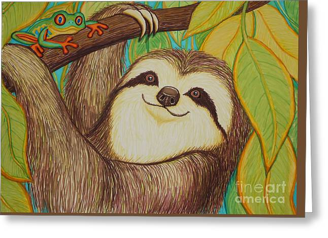 Sloth Greeting Cards - Sloth and frog Greeting Card by Nick Gustafson