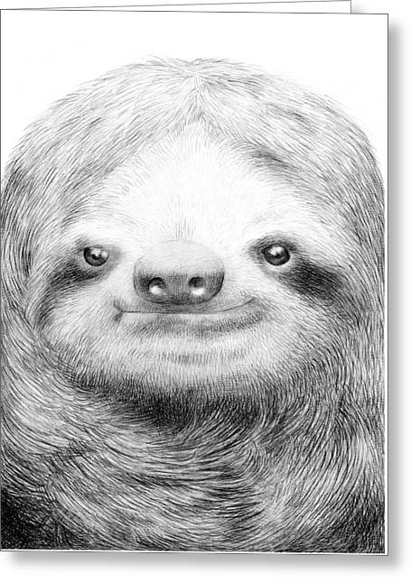 Sloth Greeting Cards - Sloth Greeting Card by Eric Fan