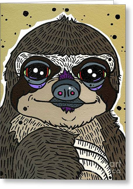 Sloth Paintings Greeting Cards - Sloth Greeting Card by Nicole Wilson