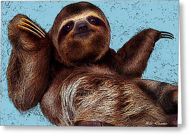 Sloth Greeting Cards - Sloth Pop Art Greeting Card by Bibi Romer