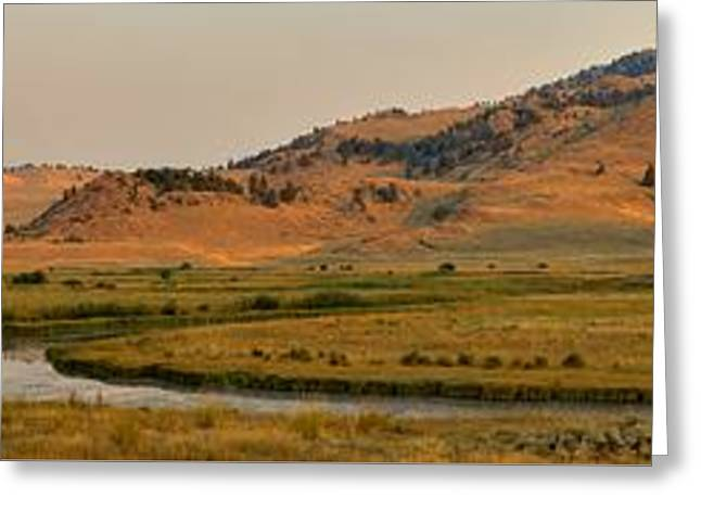 Mountain Valley Greeting Cards - Slough Creek Sunrise Panorama Greeting Card by Adam Jewell