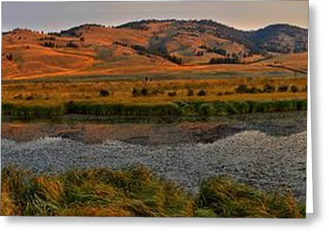Mountain Valley Greeting Cards - Slough Creek Sunrise Reflections Panorama Greeting Card by Adam Jewell