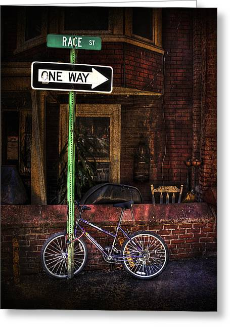 Arrow Greeting Cards - Slow Down on the Race Street Greeting Card by Evelina Kremsdorf