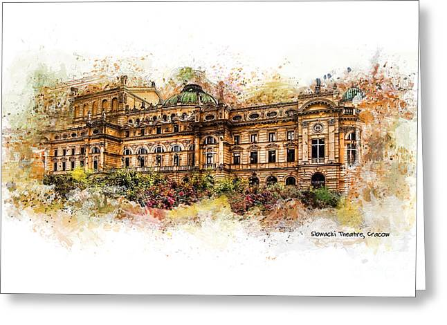 Town Mixed Media Greeting Cards - Slowacki Theatre Cracow Greeting Card by Justyna JBJart