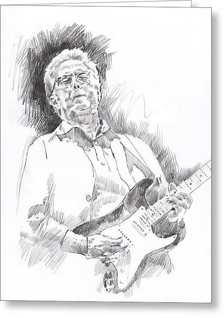 Pop Icon Paintings Greeting Cards - Slowhand Greeting Card by David Lloyd Glover