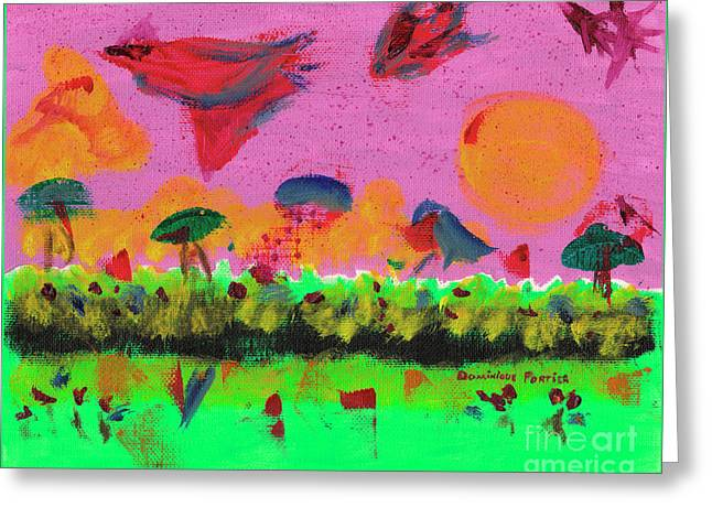 Slowing Down Time In The Sky  Greeting Card by Dominique Fortier