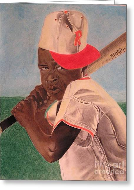 Baseball Player Pastels Greeting Cards - Slugger Greeting Card by Wil Golden