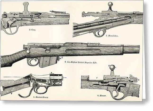 Single Drawings Greeting Cards - Small Arms. Firearms. 19th Century Greeting Card by Ken Welsh