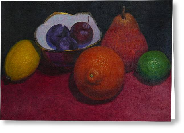 Terry Perham Greeting Cards - Small Bowl With Fruit Greeting Card by Terry Perham