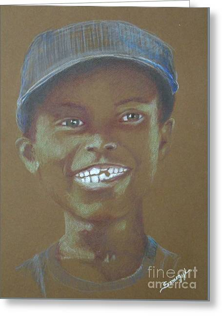 Small Boy, Big Grin -- Retro Portrait Of Black Boy Greeting Card by Jayne Somogy