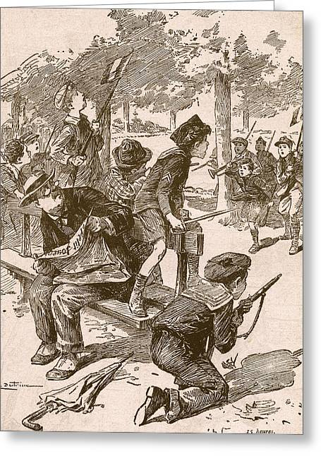 Wwi Greeting Cards - Small Boys Playing War Games In France Greeting Card by Ken Welsh