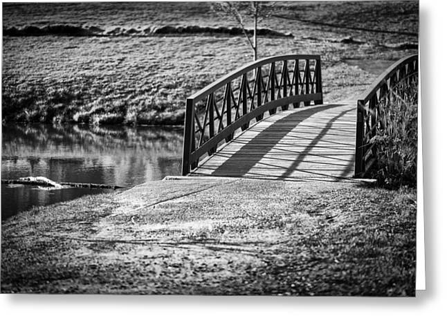 Amesbury Greeting Cards - Small bridge over a pond in Amesbury Massachusetts Greeting Card by Thomas Logan