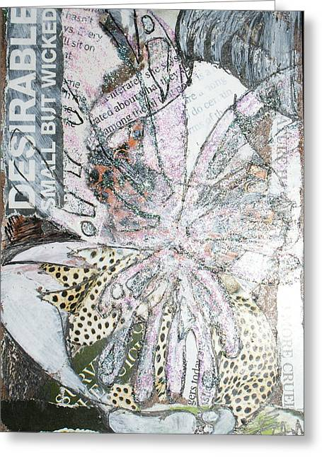 Knelt Mixed Media Greeting Cards - Small but wicked Greeting Card by Joanne Claxton