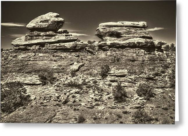 Geology Photographs Greeting Cards - Small Buttes Canyonlands National Park Greeting Card by Roger Passman