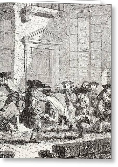 French School; (18th Century) Greeting Cards - Small Children Leaving School. After A Greeting Card by Ken Welsh