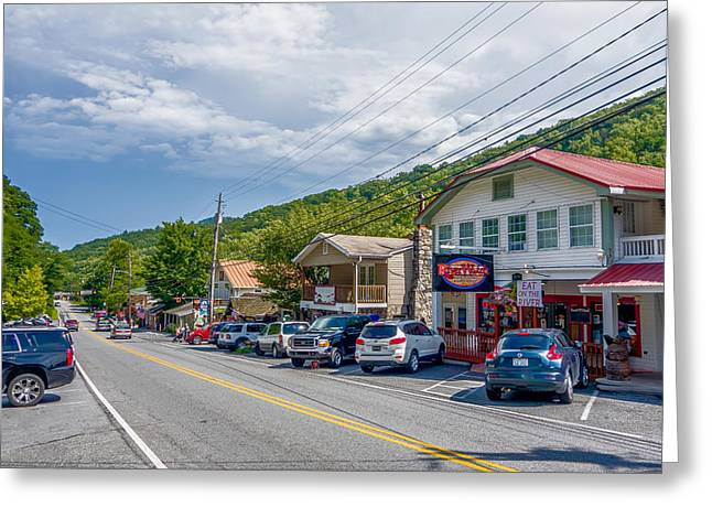 Mountain Valley Greeting Cards - Small Chimney Rock Town Near Lake Lure In North Carolina Greeting Card by Alexandr Grichenko