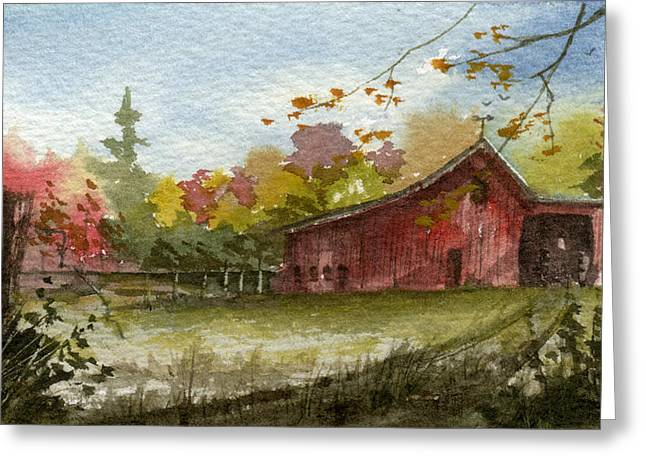 Sean Seal Greeting Cards - Small Fall Barn Greeting Card by Sean Seal