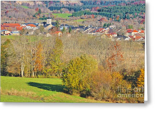 Civilization Greeting Cards - Small French village in Rhone-Alpes in autumn Greeting Card by Gregory DUBUS