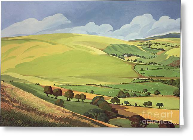 Field. Cloud Paintings Greeting Cards - Small Green Valley Greeting Card by Anna Teasdale