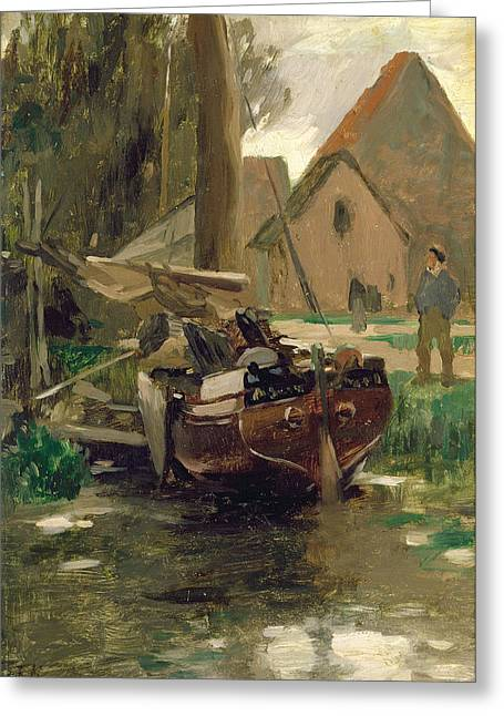 Calm Waters Paintings Greeting Cards - Small Harbor with a Boat  Greeting Card by Thomas Ludwig Herbst