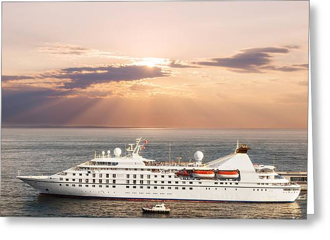 Small Luxury Cruise Ship Greeting Card by Elena Elisseeva