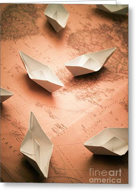 Small Paper Boats On Top Of Old Map Greeting Card by Jorgo Photography - Wall Art Gallery
