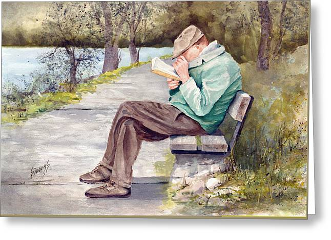 Park Benches Paintings Greeting Cards - Small Print Greeting Card by Sam Sidders