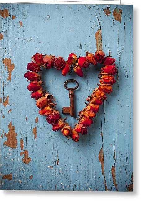Still Life Glass Greeting Cards - Small rose heart wreath with key Greeting Card by Garry Gay