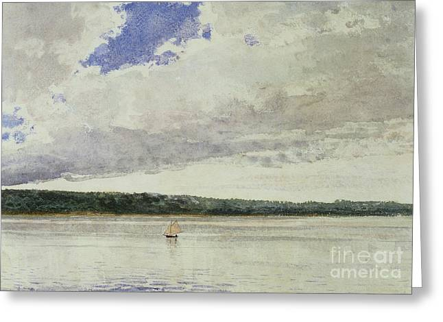 Calm Paintings Greeting Cards - Small Sloop on Saco Bay Greeting Card by Winslow Homer