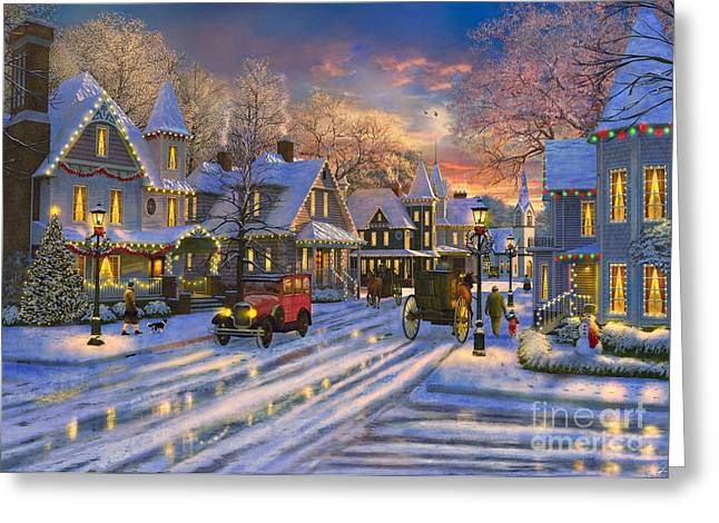 Small Town Christmas Greeting Card by Dominic Davison