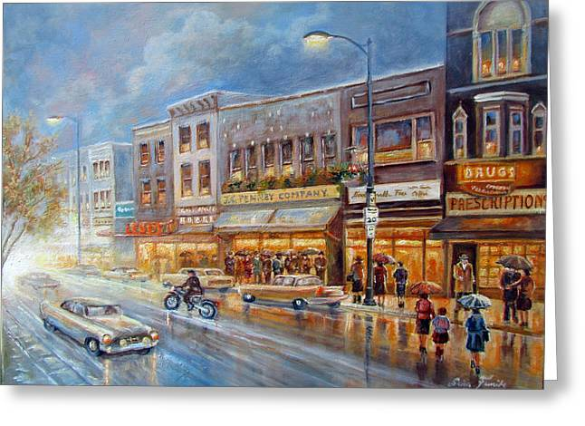 Indiana Paintings Greeting Cards - Small town on a rainy day in 1960 Greeting Card by Gina Femrite