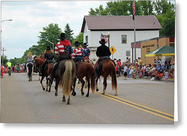 Small Town Parade Greeting Card by Brook Burling