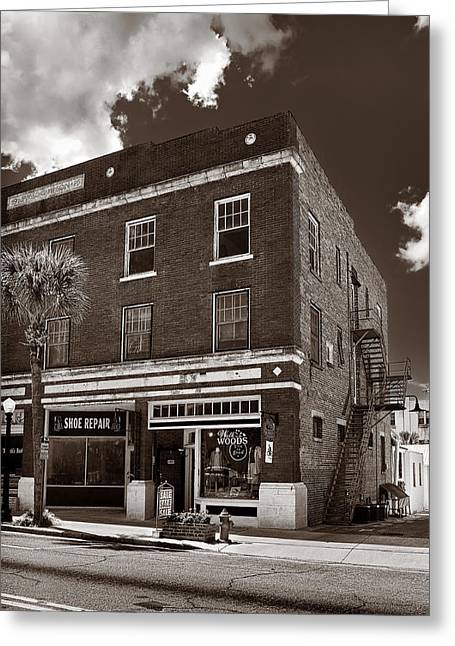 Small Town Shops - Sepia Greeting Card by Christopher Holmes