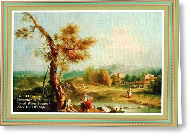 Small Water Stream -  After The Old Style H A With Decorative Ornate Printed Frame. Greeting Card by Gert J Rheeders