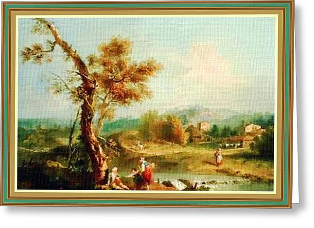 Small Water Stream -  After The Old Style H B With Decorative Ornate Printed Frame. Greeting Card by Gert J Rheeders