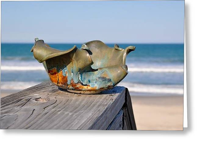 Beaches Ceramics Greeting Cards - Small wave bowl Greeting Card by Gibbs Baum
