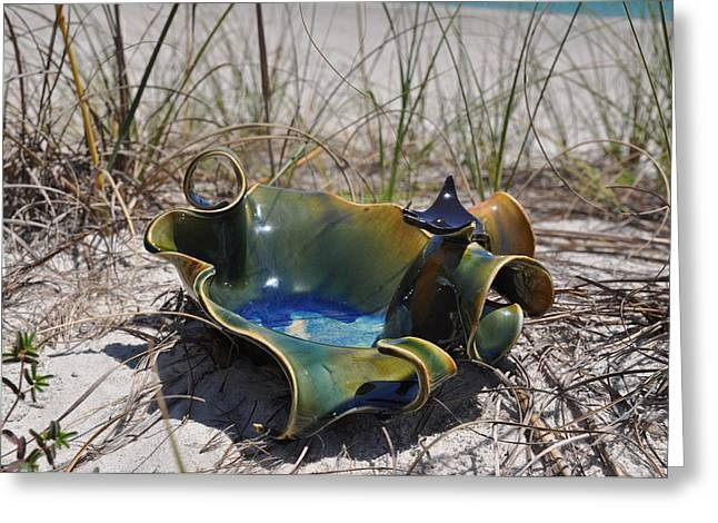 Ceramics Greeting Cards - Small wave bowl with Manta Ray Greeting Card by Gibbs Baum