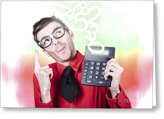 Mental Operation Greeting Cards - Smart accountant showing income tax return growth Greeting Card by Ryan Jorgensen